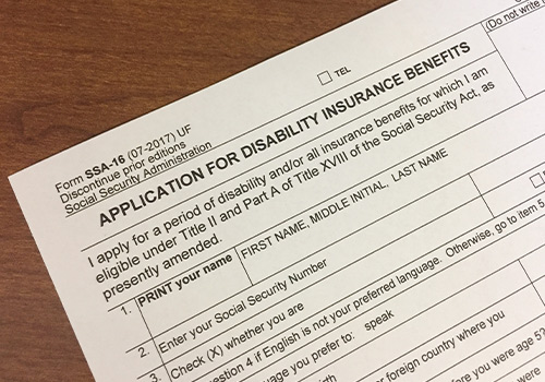 Social Security Disability Application